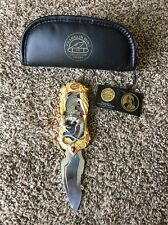Franklin Mint Dragon Knife, Beautiful knife with purple and gold trim, Inc pouch
