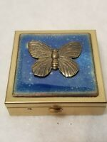 """VINTAGE BRIC N BRAC BRASS SQUARE PILL BOX 2"""" X 2"""" ACRYLIC TOP WITH BUTTERFLY"""