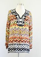Tolani Orange Yellow Black Silk Geometric Print Tunic Blouse Top Size S Boho