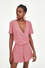 115da9f4578 ZARA Red Checked Gingham Playsuit Crossover V-neck Tied Bow Jumpsuit S