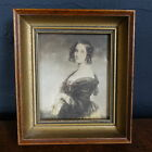 Fine Vintage Antique Victorian Lady Print Heavy Wood Frame Hanging Wall Art