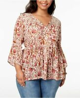Style&Co Plus Size 1X,2X,3X Peasant Top Women Printed Bell Sleeve Mesh Blouse NW