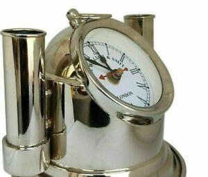 "Unique Vintage brass helmet 5"" clock & pen holder Maritime desk top Replica"