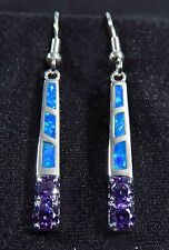 Sterling 925 Silver SF STICK Earrings Blue Lab Fire Opal & 3mm Amethyst 1 3/4""