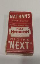 "SEALED BOX VINTAGE ""NATHAN'S"" DOUBLE EDGE RAZOR BLADES"
