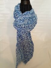 """New Urban Hand crocheted  Soft Scarf Blue & white 5"""" W by 76"""" L"""