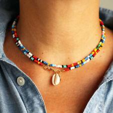 Am _ Damen Boho Kauri Muschel Charm Perlen Doppellagig Halskette Schmuck