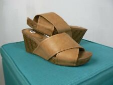 White Mountain Light Brown Faux Leather Criss Cross Wedge Sandals NEW 7.5 W233