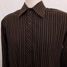 Ben Sherman Shirt Men's Size 3 Large Brown Striped Cotton Long Sleeve