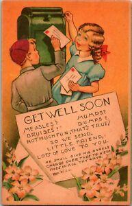 Vtg Postcard G & W Co Get Well Soon Message No 34 - Palms 91: 11 - UNP