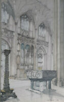 KEITH BENNETT ORIGINAL SIGNED WATERCOLOUR PAINTING WINCHESTER CATHEDRAL 1986
