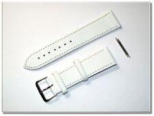 echt Leder Uhrenarmband weiss/silber, seidenmatt, 22mm breit, 2,5mm dick (8505)