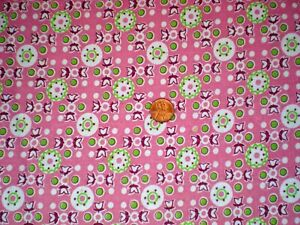 GEOMETRIC Full FEEDSACK Quilt Sewing DollClothes Craft Fabric Pink Lime Burgundy