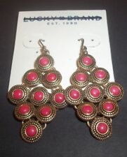 Lucky Brand Earrings Dangle coral Accents Gold Tone chandelier peacock New 4816