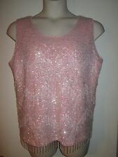 Vintage HEAVILY BEADED Sequin TOP 44 PINK Formal DRESSY Sleeveless BEADS L/XL
