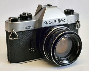 Rolleiflex SL35 Film Camera with Rollei Planar SL 50mm f1.8 Lens + Case +Strap.