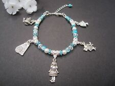 Alice In Wonderland Disney Charm Bracelet Turquoise Great Gift Adjustable