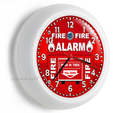 FIRE ALARM PULL DOWN AND PUSH TIME WALL CLOCK MAN CAVE ROOM NEW HOME HOUSE DECOR