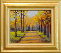 "Autumn day. Original framed oil on canvas  8""x10"" impressionistic painting."