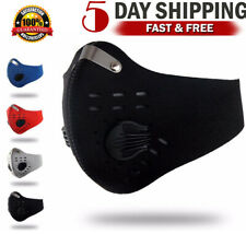 Sport Cycling Face Mask Adults W/ Active Carbon Filter Valves Washable Reusable.
