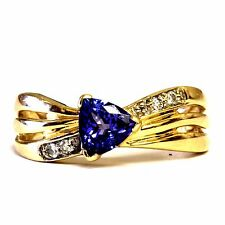 14k yellow gold .06ct womens VS G diamond trillion tanzanite ring 4.5g estate