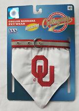 NWT Oklahoma OU Sooner Bandana Dog Collar Medium Adjustable Red / White