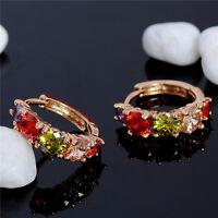 1Pair Fashion Women Cubic Zirconia Gold Drop Dangle Circle Hoop Earrings Jewelry