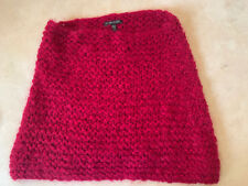 """Eileen Fisher red berry hand-knit infinity scarf 20"""" x 15"""" Italian material"""
