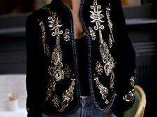 ZARA Velvet Embroidered Jacket Coat Large L Beaded Embellished