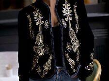 ZARA velluto ricamato Giacca Cappotto di grandi dimensioni L Impreziosito Di Perline