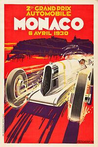 "Monaco 1930 Vintage art Travel Poster Print PAINTING Glass Frame 36"" x 24"""