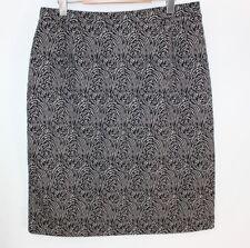 M. Studio Women's New Geometric Design Skirt Size 16 Black Gray Stretch NWT $70