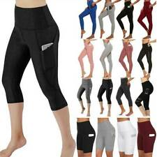 Womens Yoga Pants Capri Leggings High Waist Pockets Gym Sports Fitness Trousers