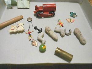 vintage junk drawer cracker jack trinkets dolls caterpillar tootsie toy