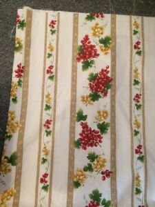 """Two 60"""" X 60"""" Yellow red grapes Poly Cotton ? Fabric Offcut Tablecloth Curtains"""