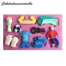 3D Football Girls Boys Birthday Cake Silicone Mould Boots Goal Sport Cake Topper
