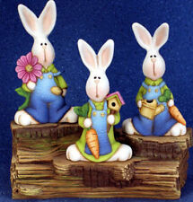 Ceramic Bisque Ready to Paint Bunnies on a Log