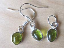 set hanger/oorbellen met GROENE KWARTS (3) edelstenen