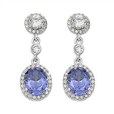 Tanzanite & Cz Chandelier Drop  .925 Sterling Silver Earrings