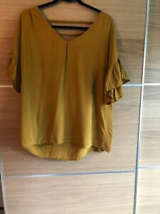 Garconne Made In Italy 10 12 14 16 Mustard Yellow Low Back Cage Floaty Sleeves