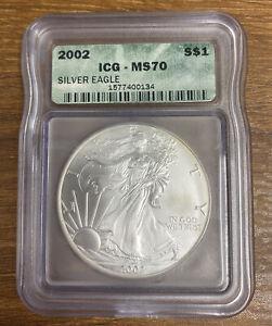 2002 Silver Eagle ICG- MS 70 Green Label