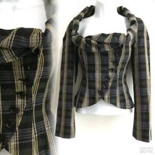 TOPSHOP Tartan Check Victorian Riding Bustle Military Edwardian Jacket 6 34 2