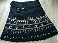 Ladies 12 black Skirt, A line style, VGC fixed belt, studs, punk, Morgan quality