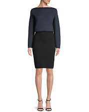 NWT $3,940 Alaïa Women's Black Colorblocked Wool Blouson Dress Size 38