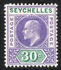 Seychelles 1903 violet/green 30c crown CA mint SG52