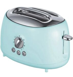 Retro Toaster Brentwood Appliances Cool Touch 2 Slice Extra Wide Slots Aqua Blue
