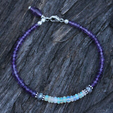 U&C Sundance Amethyst Ethiopan Welo Opal Mystic Labradorite .925 Silver Bracelet