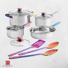 Cookware Set Stainless Steel 10 PIECE Pots Pans Utensils Iridescent Kitchen