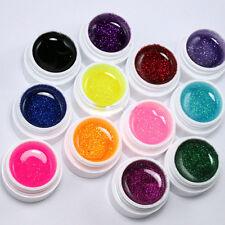 12 Colors Glitter UV Gel Builder False Tips Acrylic Nail Art Polish Kit Set 5ml