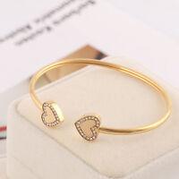 Michael Kors Gold Double Heart Crystal Logo Cuff Bracelet w/ Gift Box